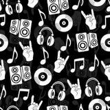Muzikale vectorachtergrond, het naadloze patroon van muziektoebehoren Royalty-vrije Stock Foto's