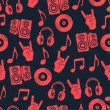 Muzikale vectorachtergrond, het naadloze patroon van muziektoebehoren Royalty-vrije Stock Foto