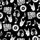 Muzikale vectorachtergrond, het naadloze patroon van muziektoebehoren Stock Afbeeldingen