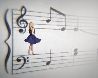 Muzikale vrouw stock afbeelding