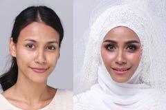Muzułmańska arabska panna młoda w Koronkowej Paciorkowatej ślubnej sukni obrazy stock