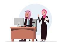 Muzułmańscy ludzie biznesu pracy i rozmowa w biurze royalty ilustracja
