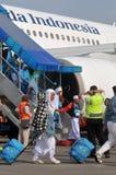 Muzułmańscy pielgrzymi przyjeżdżali w Indonezja po kończyli rocznego haj Obrazy Stock