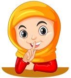 Muzułmańska dziewczyna gestykuluje zaciszność znaka ilustracji