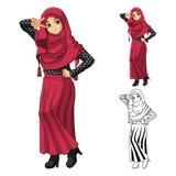 Muzułmańska dziewczyny moda Jest ubranym Zieloną przesłonę lub szalika z Żółtą kurtką i butami royalty ilustracja