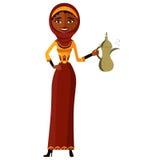 muzułmańska kobieta trzyma arabskiego kawowego garnek wektor Fotografia Stock