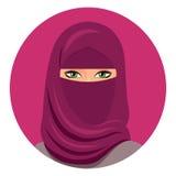 Muzułmańska kobieta w hijab avatar zamykającej twarzy Arabska kobieta w hijab odosobniony wektor Portret saudyjska kobieta w hija Obraz Stock