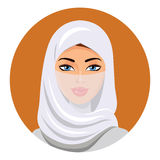 Muzułmańska kobieta w hijab odosobniony wektor Portret Muzułmańska kobieta w hijab Obrazy Royalty Free
