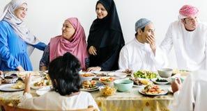 Muzułmańska rodzina ma Ramadan ucztę Fotografia Royalty Free