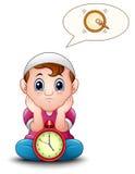 Muzułmański dzieciak siedzi na podłoga podczas gdy czekanie przerwy zamocowanie ilustracji
