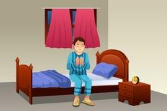 Muzułmański mężczyzna modlenie Przed Iść łóżko ilustracja wektor