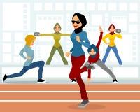 Muzułmańskie żeńskie atlety ilustracji