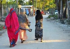 Muzułmańskie kobiety w pięknych kolorowych sukniach Obrazy Royalty Free