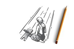 Muzułmanin, islam, religia, arab, koran, modlitewny pojęcie Ręka rysujący odosobniony wektor royalty ilustracja
