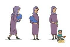 Muzułmanin kobiety pozycja z Małym dzieckiem i dzieckiem Żeński uchodźca Wektorowy ilustracja set, odizolowywający na bielu ilustracji