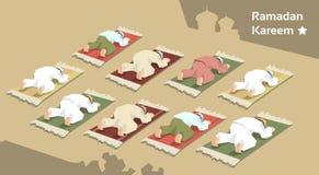 Muzułmański Man Group Modli się Ramadan Kareem Meczetowej religii Świętego miesiąc Zdjęcie Royalty Free