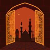 Muzułmański wakacje Ramadan Pocztówka w postaci łuku Golden Gate z ornamentem, wakacyjny symbol ilustracja Zdjęcia Stock