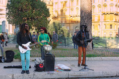 Muzycy na ulicach Rzym, Włochy Fotografia Royalty Free