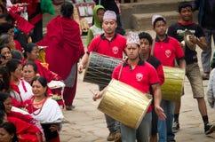 Muzycy w Bhaktapur, Nepal Zdjęcia Royalty Free