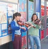 Muzycy w Targowej ulicie, St Andrews Zdjęcia Royalty Free