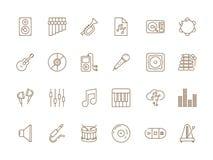Muzyczna ikona Muzykalnego audia dj wyposa?enia gitary mikrofonu pracownianego fortepianowego wektoru linii ciency obrazki ilustracja wektor