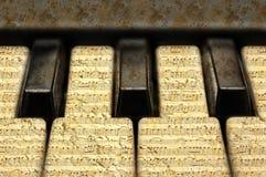 Muzyczna klawiatura z grunge notatkami Fotografia Stock
