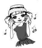 Muzyczna mody dziewczyna Obrazy Royalty Free