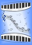 Muzyczna ulotka z notatkami, fortepianową klawiaturą i treble clef, Zdjęcie Royalty Free