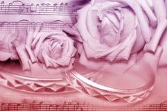 Muzyczne ślubne róże Obrazy Stock