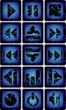 muzyczne błękitny ikony Obrazy Royalty Free