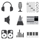 Muzyczne ikony i wektorowa ilustracja Zdjęcie Stock
