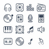 Muzyczne ikony z Białym wektorem Obraz Royalty Free