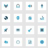 Muzyczne kolorowe ikony ustawiać Kolekcja pojemność Zdjęcie Royalty Free