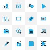 Muzyczne kolorowe ikony ustawiać Kolekcja kontroler Obraz Stock