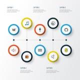 Muzyczne Kolorowe kontur ikony Ustawiać Kolekcja klucze, Tambourine, niemowa I Inni elementy, Także Zawiera symbole Tak jak Zdjęcia Royalty Free
