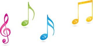 Muzyczne notatki, clef, Muzyczny logo ilustracja wektor