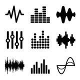 Muzyczne Soundwave ikony Ustawiać na Białym tle wektor Zdjęcie Royalty Free
