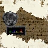 Muzycznego tła akustyczny mówca w ściana z cegieł ilustracja wektor