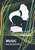 Muzycznego tła wektorowy szablon z gramofonem royalty ilustracja