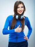 Muzycznej kobiety odosobniony portret Kobiety wzorcowy studio odizolowywający Zdjęcie Stock