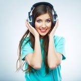 Muzycznej kobiety odosobniony portret Kobiety wzorcowy studio odizolowywający Obraz Stock