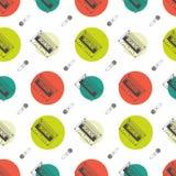 Muzycznej mieszkanie linii retro bezszwowy wzór z Zdjęcie Stock