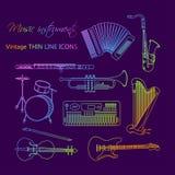 Muzyczni instrumenty cienieją kreskową ikonę ustawiającą dla sieci i wiszącej ozdoby royalty ilustracja