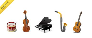 muzyczni klasyczni instrumenty Zdjęcia Royalty Free