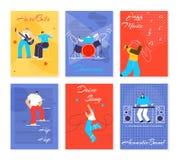 Muzyczni ludzie Fest Gręplują Płaską Wektorową ilustrację royalty ilustracja