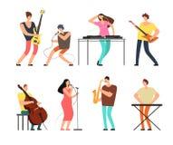 Muzyczni zespołów muzycy z instrumentami muzycznymi bawić się muzykę na scena wektorze ustawiają odosobnionego ilustracji
