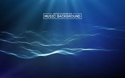 Muzyczny abstrakcjonistyczny tła błękit Wyrównywacz dla muzyki, pokazuje rozsądne fala z muzycznymi fala, muzyczny tło wyrównywac ilustracji
