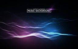 Muzyczny abstrakcjonistyczny tła błękit Wyrównywacz dla muzyki, pokazuje rozsądne fala z muzycznymi fala, muzyczny tło wyrównywac Zdjęcie Stock