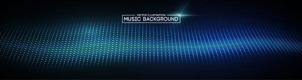 Muzyczny abstrakcjonistyczny tła błękit Wyrównywacz dla muzyki, pokazuje rozsądne fala z muzycznymi fala, muzyczny tło wyrównywac obraz stock
