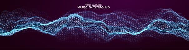 Muzyczny abstrakcjonistyczny tła błękit Wyrównywacz dla muzyki, pokazuje rozsądne fala z muzycznymi fala, muzyczny tło wyrównywac zdjęcia stock
